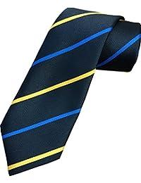 Herren Streifen Krawatte - Schwarzer, Blauer & Gelber Streifen