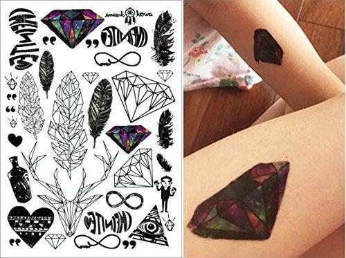 COKOHAPPY 5 Blätter Temporäre Tattoo - Diamant Feder Herz Flash Tattoo Körper Aufkleber Art