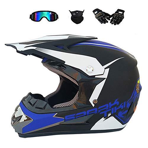 BMAQ Crosshelm Herren, Adult Motocross Helm Set mit Brillen Handschuhe Maske, Sommer/Winter Motorradhelm Mountenbike Fahren Helm Geeignet für Outdoor-Abenteuersportarten,S(52~54CM)