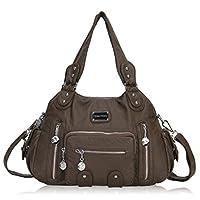 Veevan Washed Leather Vintage Hobo Style Shoulder Handbags (Taupe-B)