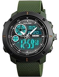 41cb549fafbf FeiWen Hombre Grande Digitale Deportivo Relojes de Pulsera Outdoor Militar  50M Impermeable Cuarzo Analógico LED Doble
