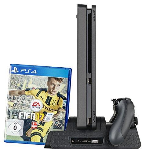 GAMINGER PS4 / Slim / Pro Multi Standfuß mit Controller Ladestation & Lüfter & 12x Spielehalterung CD DVD Blu Ray