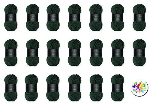 Pro Lana Star - Set di gomitoli di 5, 10, 20o tutti i colori, con spille regalo a scelta, filato finissimo AAA in acrilico di classe extra  Pro Lana Star FarbNr. 78 AGAVE + 1 x BUTTON