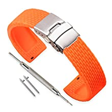 Vinband Watch Strap Replacement Rubber Watch Band Men Women Black - 18mm, 20mm, 22mm, 24mm Silicon Watch Bracelet with Quick Release Pins & Deployment Buckle (24mm, Orange)