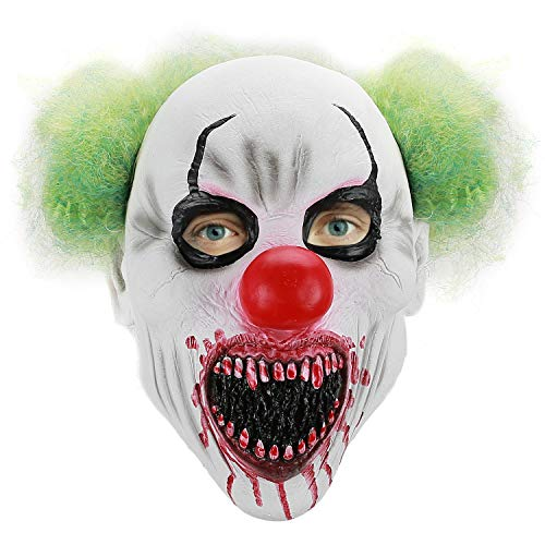Hautton maschera di halloween, maschera da clown divertente spaventosa inquietante da uomo joker mask con capelli verdi maschera in lattice per halloween maschera costume festa e cosplay festa