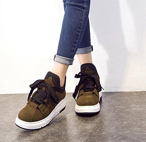 Frau Herbst Aufzug Schuhe Freizeitschuhe Damenschuhe High-Top mit schwerem Boden weiblichen Schuhe Sport Khaki