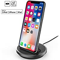 NXET® iPhone/iPad/iPod Desktop Charging Dock, [Case Compatible] 8Pin Charger Cradle & Data Sync Cable Stand Charge Holder for iPhone XS Max XR X 8 7 6S 6 Plus SE 5S 5C 5 / iPad Mini / iPad Air / iPad Pro / AirPods and iPod Series