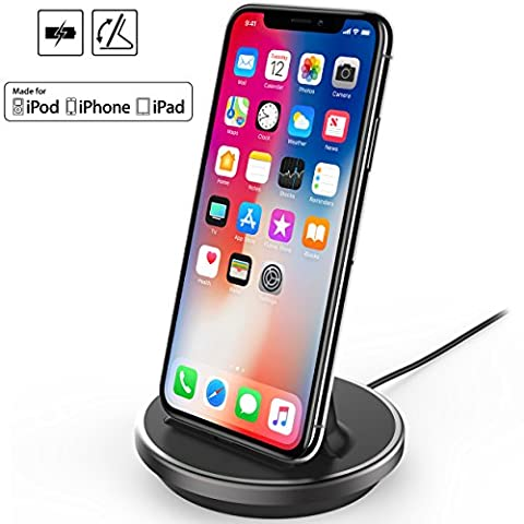 iPhone/iPad/iPod Desktop Charging Dock, NXET® [Apple MFi Certified] [Case Compatible] Lightning 8Pin Charger Cradle & Data Sync Cable Stand Charge Holder for iPhone X 8 7 6S 6 Plus SE 5S 5C 5 / iPad Mini / iPad Air / iPad Pro / AirPods and iPod Series