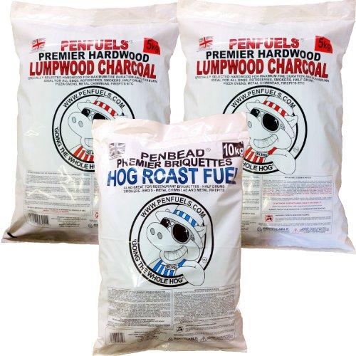 PENBEAD Premier Charcoal BBQ Briquettes 10kg Plus Hardwood Lumpwood Charcoal 10kg