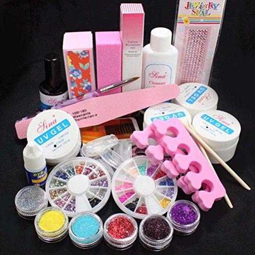 Tonsee Acrylique Glitter Powder Glue File French Nail Art Kit UV Tips Gel Kit