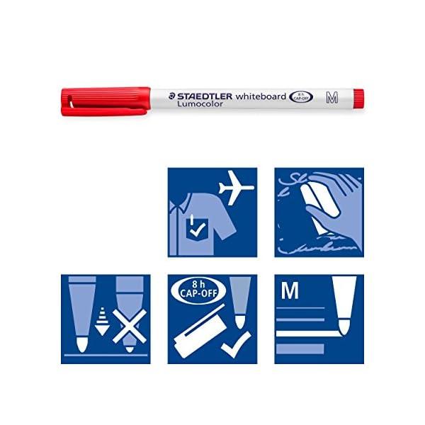 STAEDTLER Lumocolor 301 WP4 – Rotulador para Pizarra Blanca, Estuche de 4 Colores