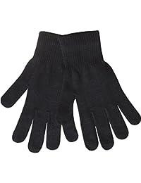 Men's Plain Black Stretch Fit Thermal Knit Soft Winter Gloves
