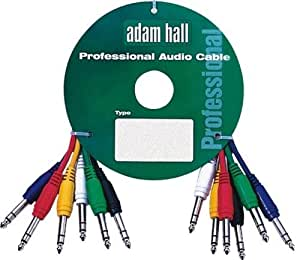 "Adam Hall 0.3m stereo balanced 6.35 mm (1/4"") jack to jack patch cables. 6 pack"