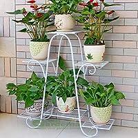 Green Gardenia Iron Plant Stand/Pot Stand (6 Pot Holder) (White)