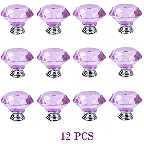 40 mm 12 PCS viola cristallo libero Diamond Cut le