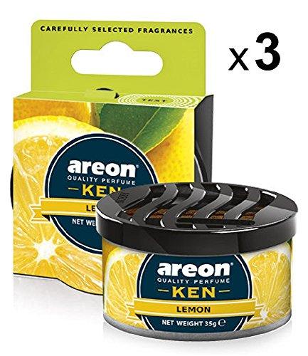 Areon Ken Deodorante Auto Limone Agrumi Tropical Ambiente Profumatore Contenitore Scatola Originale Profumo Interni Casa 3D ( Lemon Set x 3 )