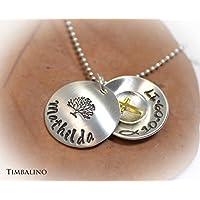 Silberschmuck, Medaillon mit Gravur Namen, Kreuzanhänger