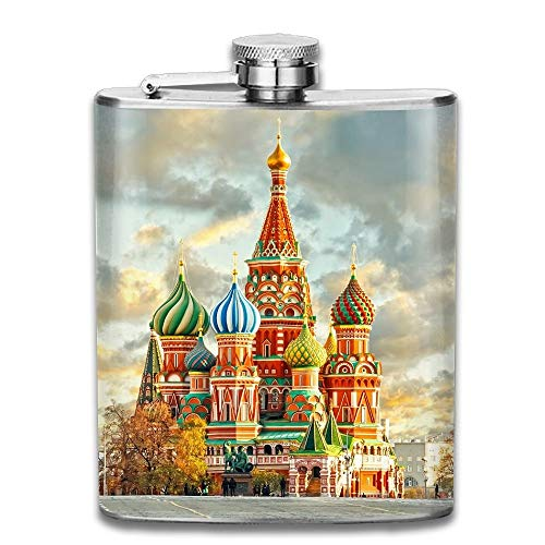 Stainless Steel Hip Flask 7 Oz (No Funnel) Red Square Moscow Full Printed Red Funnel