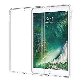 MoKo Case for iPad 9.7 2018/2017 - CLEAR GRIP Soft Flexible Transparent TPU Skin Shockproof Rubber Bumper Back Cover Protector for Apple iPad 9.7 Inch (iPad 5, iPad 6), CLEAR