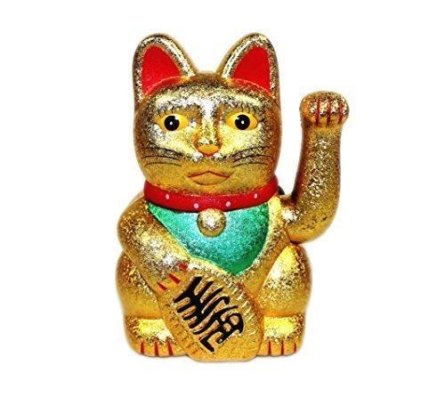 12.7cm Fortuna Gatto Maneki Neko Che saluta Lucky Cat (molti colori) - Sabbia Oro