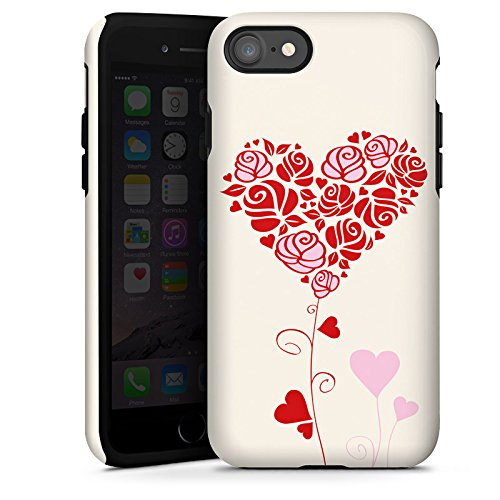 Apple iPhone X Silikon Hülle Case Schutzhülle Muster Rosen Herz Love Tough Case glänzend