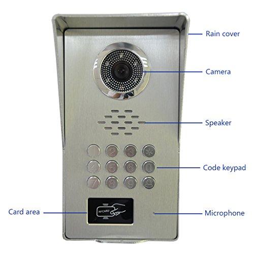 """AMOCAM Video Door Phone System,a full Aluminum Alloy IR Night Vision Camera, 9"""" LCD Monitor, Wired Video Intercom Doorbell Kits, Support RFID Keyfobs,Code Password Unlock, Monitoring, Intercom"""