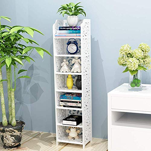 YANG Home Schlafzimmer Bücherregal Bücherregale 7-Tier Modular Cut-Out Holz Kunststoff-Verbundregal Einheit Storage Organizer Regal Display-Rack, Student Schlafsaal Bett Bücherregal -