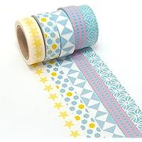 K-LIMIT 5 Set Washi Tape rollos de Washi Tape, cinta decorativa autoadhesivo, cinta de enmascarar, masking tapemasking tape scrapbooking, DIY 9215