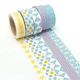 K-LIMIT 5 Set Washi Tape rollos de Washi Tape, cinta decorativa autoadhesivo, cinta de enmascarar,...