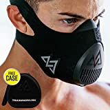 TRAININGMASK Trainingsmaske 3.0 [All Black + Free Case] für Performance Fitness, Workout Maske, Laufmaske, Atemmaske, Widerstandsmaske, Cardio-Maske...