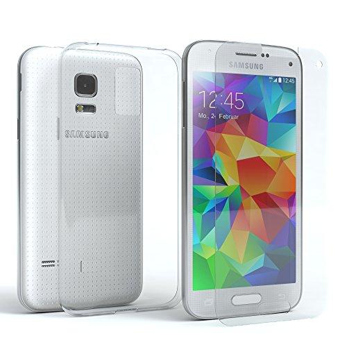 EAZY CASE Silikonhülle & Panzerglas im Set für Samsung Galaxy S5 Mini I Displayschutzglas, Panzerglas nur 0,3 mm 9H Härte, Schutzhülle Ultra dünn, Silikon Hülle, Backcover, Transparent/Kristallklar