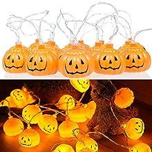 Homo Trends Halloween Decor Pumpkin Lantern, Waterproof 48ft 20LEDs Halloween Pumpkin String Lights Battery Operated for Halloween Outdoor Decorations