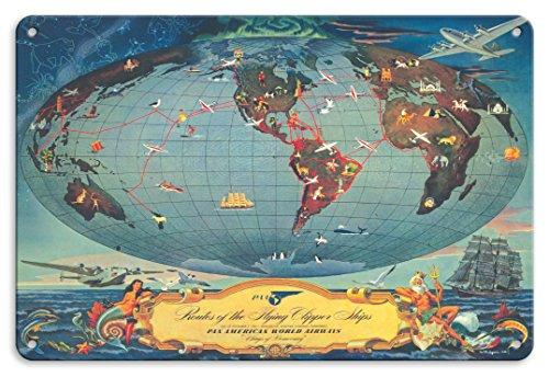 22cm x 30cm Vintage Metallschild - Routen Der Flying Clipper Schiffe - Pan American World Airways (PAA) - Flügel Der Demokratie - Vintage Retro Fluggesellschaft Reise Plakat von L. Helguera c.1945