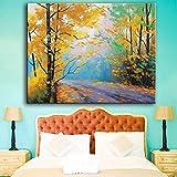 XWArtpic Impression sur Toile Paysage Peinture Mur Art Photos Route Automne Forêt...