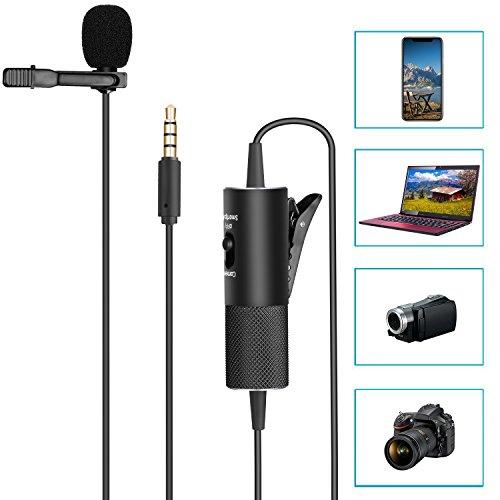 Neewer Doppio Microfono Lavalier da Bavero, Microfono Clip-on con Condensatore Omni-direzionale, Interfaccia 3,5mm per Reflex Digitali, iPhone, Computer & Laptop, con Cavo 570cm (NW-955S)