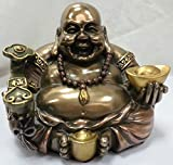 Happy Buddha, Ho Tei, mit Goldbarren, bronziert, handdekoriert, Figur