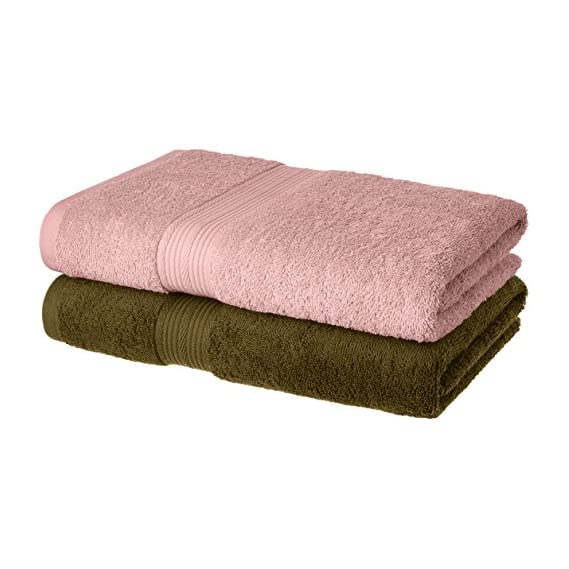 Amazon Brand - Solimo 100% Cotton 2 Piece Bath Towel Set, 500 GSM (Brown and Baby Pink)