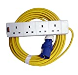 Camping Electric Hook Up Cable - Caravan/Tent Plug Socket Lead (Yellow, 10m)