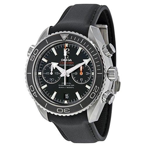 Seamaster Planet Ocean Chrono schwarz Zifferblatt Gummi Herren-Armbanduhr