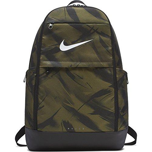 Nike Brasilia, Unisex-Erwachsene, Tasche, Brasilia X-Large All Over Print Backpack, Olive Flak/Black/White, Misc - X-large-tasche