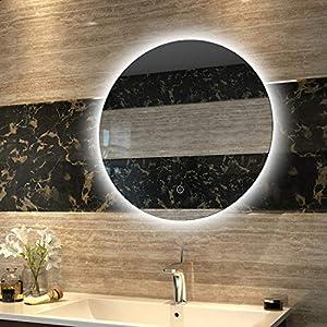 Duschdeluxe LED Spiegel Runder Badspiegel Beleuchtung Durchmesser 60 cm Badezimmerspiegel Lichtspiegel Wandspiegel nergieeffizienzklasse A ++ mit Touch Schalter, IP44 Energiesparend, kaltweiß
