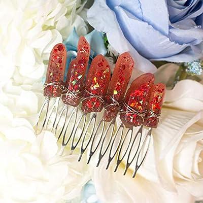 Lindir haircomb, pince à cheveux avec des cristaux de résine rouge, base et fil de métal, mariage elfe accessoire de fantaisie, magie, boho