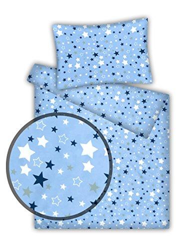 Kinderbettwäsche Stars 2-tlg. 100% Baumwolle 40x60 + 100x135 cm mit Reißverschluss (hellblau) -