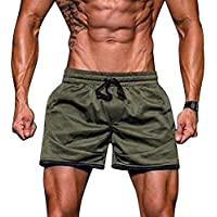JiaMeng Hombres Gimnasio Entrenamiento Jogging Sport Fitness Jogging  Elastic Stretchy Bodybuilding MuscleBermuda Sweatpants Pantalones Cortos Fit 094857aca442