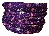 Multifunction Neckwarmer, Snood, Hat, Scarf and Hood with pink flowers on purple print by Monogram