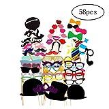Asien 58Pcs Props colorés sur Un Baton Mustache Photo Booth DIY Kit fête de Mariage Favor Fournitures
