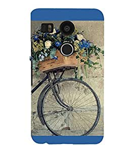 Flowers on a Cycle 3D Hard Polycarbonate Designer Back Case Cover for LG Nexus 5X :: LG Google Nexus 5X New