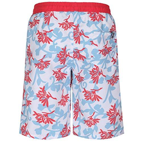 Soul Star Men's short de bain Imprimé Floral Multicolore - Blue/red/white
