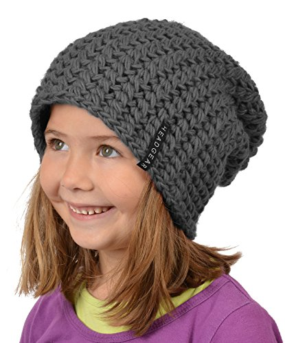 Stylische Oversize Häckelmütze für Mädchen : Mädchen Oversize Häkel Beanie Farbe: dunkelgrau