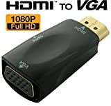 #10: TECH SHOP Gold-Plated Active HD 1080P HDMI to VGA Converter Adapter Dongle with 3.5mm Audio for Laptop PC Projector HDTV PS3 Xbox Blu-ray DVD - Black